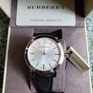 New Burberry Men's Bu2350 Slim Dial Leather Watch